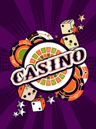trip hazard: vector background beams casino with the attributes and signs of winning and luck