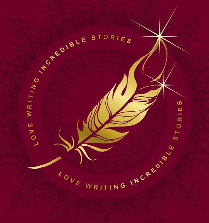 pen writing: vector emblem golden pen writing on a burgundy background, Marsala