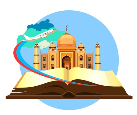 historical sites: open book historical sites mosque on a white background airplane flying in the sky