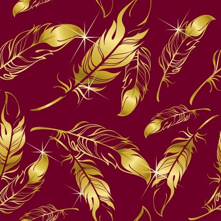 burgundy background: Vector seamless pattern of golden shiny feathers on a burgundy background