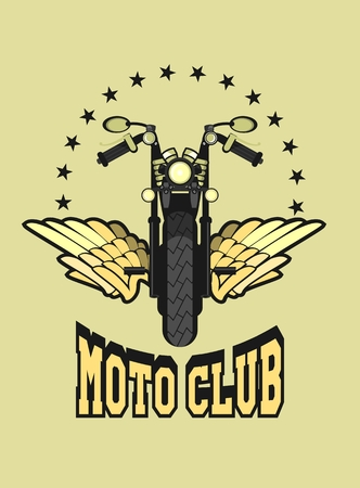 motorsports: vector motorcycle club emblem retro bike with wings Illustration