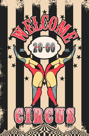 showgirl: Vector illustration of vintage circus posters on striped background with space for text decorated with circus tents and two circus artistes in suits