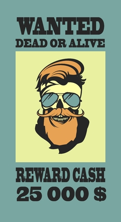 compensation: ad Wild West bandit sought for compensation skull with beard and mustache in retro style Illustration
