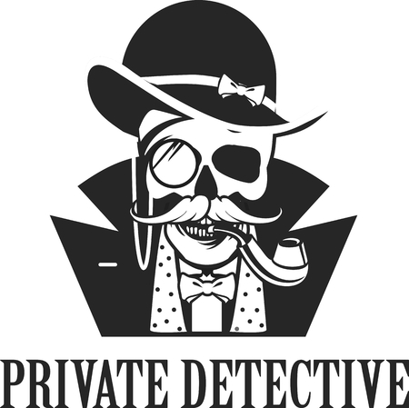 private investigator: vector illustration of a skull with a pipe and a private investigator hat on a white background