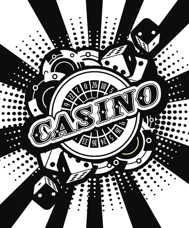 black luck: vector background beams casino with the attributes and signs of winning and luck black and white Illustration