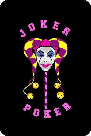 joker playing card: vector illustration of joker mask on a black background playing card Illustration