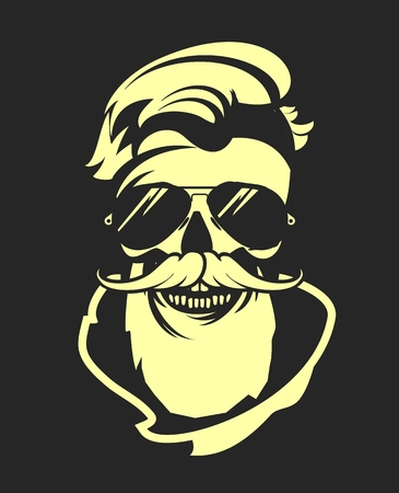 twirled: myzhchina vector image of a dead human skull with glasses and a beard and mustache twirled beautiful Illustration