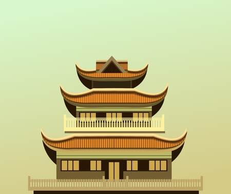 place of worship: vector illustration of an old Buddhist temple light green background Illustration