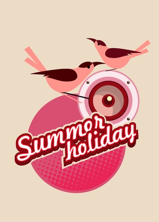 holiday music: vector illustration Flyer or cover the bird sitting on the emblem of summer - holiday music column