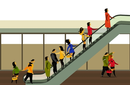 moving up: vector illustration of the supermarket building people moving up on the escalator
