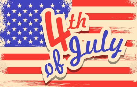 americas: vector illustration in retro style for the feast days of Americas independence grunge effect