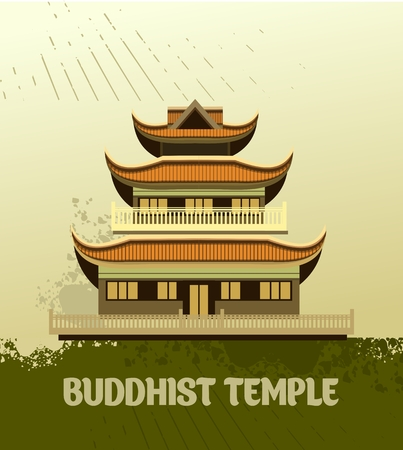 place of worship: vector illustration of an old Buddhist temple with a grunge effect Illustration