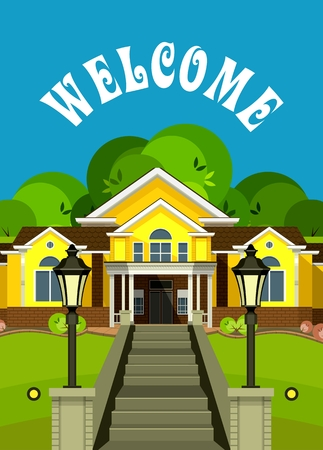 front of house: vector illustration Flyer or Cover Vacation Home grand staircase decorated streetlights