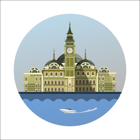 vector illustration round emblem of the beautiful old castle
