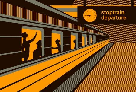 passengers: vector illustration train station platform train with passengers abstraction