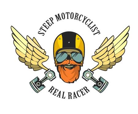 motorcyclist: vector emblem retro motorcyclist old skull in a motorcycle helmet Illustration