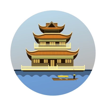 river bank: vector illustration round emblem of the Buddhist temple on the river bank Illustration