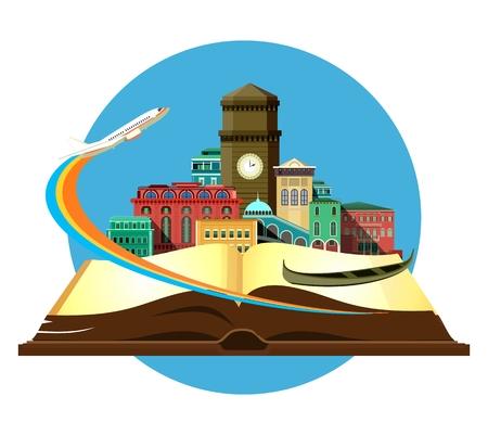 Illustration vectorielle emblème rond de la belle vieux château sur un fond d'un avion de livre ouvert qui décolle Banque d'images - 59773188