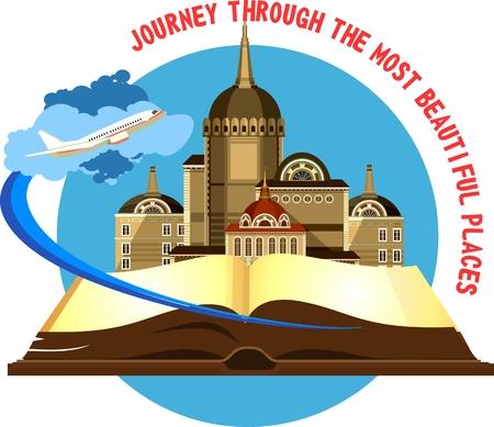 Illustration vectorielle emblème rond de la belle vieux château sur un fond d'un avion de livre ouvert qui décolle Banque d'images - 59773189