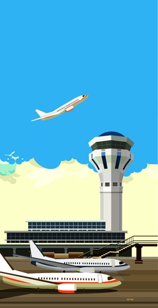 airport runway: vector illustration of a building near the airport runway and aircraft