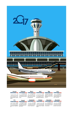 airfield: vector illustration calendar 2017 airport building near airfield