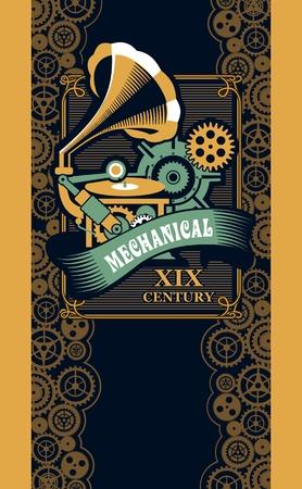 ベクトル図スチーム パンク機械工学古代音楽 gramafon