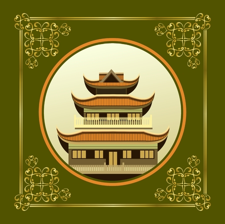 buddhist temple: vector illustration of an old Buddhist temple in a circular shape on a green background decorated with gold pattern