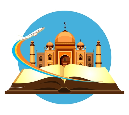 taking off: vector illustration round emblem Muslim mosque in the open book of the aircraft taking off