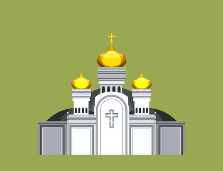 domes: vector illustration on a beige background of the Orthodox church with gold domes