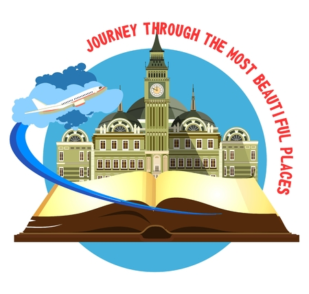 taking off: vector illustration round emblem of the beautiful old castle on a background of an open book airplane taking off Illustration