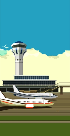 aerodrome: vector illustration of a building near the airport runway and aircraft