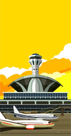 runway: vector illustration of a building near the airport runway and aircraft