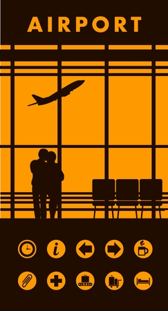 picture window: vector illustration of the airport building waiting room large picture window, people silhouettes, mourners, vertical poster, an information board with icons and text Illustration