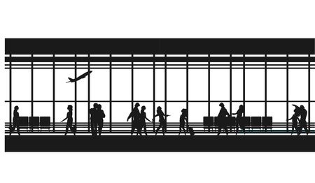 picture window: vector illustration of the airport building waiting room large picture window, people silhouettes, mourners, horizontal poster, an information board Black and white Illustration