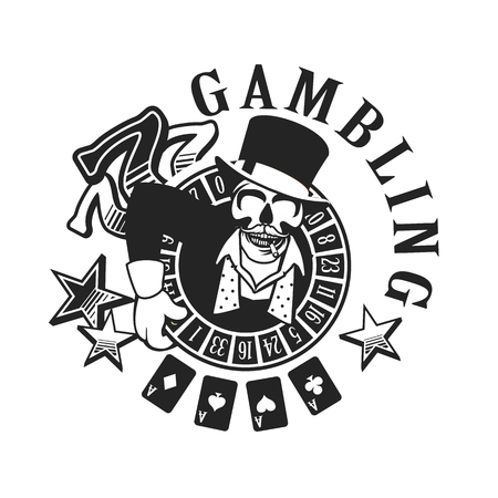 black luck: vector emblem azarntny player, the spirit of good luck in the background poboedy attributes and in the casino win black and white Illustration