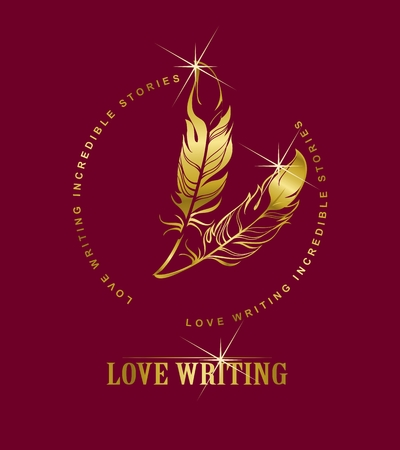 burgundy background: vector emblem golden pen writing on a burgundy background, Marsala