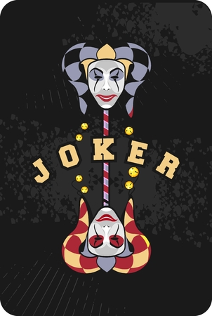 joker playing card: vector illustration of two joker mask on a black background playing card Illustration