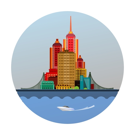 river bank: vector illustration round emblem of a huge metropolis with a bridge on the river bank