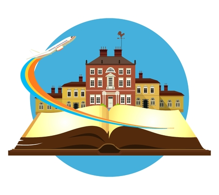 vector illustration round emblem of the beautiful old castle on a background of an open book airplane taking off Illustration