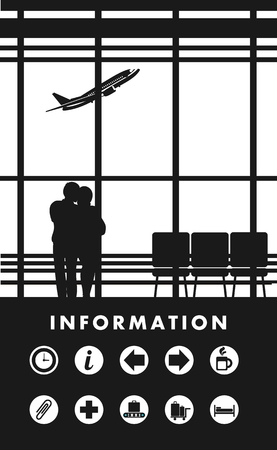 picture window: vector illustration of the airport building waiting room large picture window, people silhouettes, mourners, vertical poster, an information board with icons and text Black and white