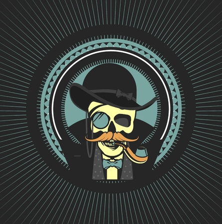 spotter: vector illustration of a skull with a pipe and a private investigator hat on a black background Retro