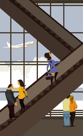 vector illustratie van het luchthavengebouw, de mensen hoger op de roltrap