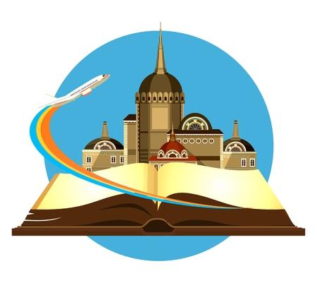 Illustration vectorielle emblème rond de la belle vieux château sur un fond d'un avion de livre ouvert qui décolle Banque d'images - 60557366