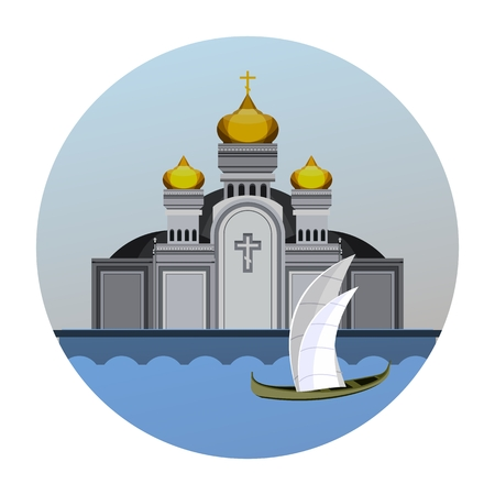 in monastery: Round vector emblem orthodox church on the waterfront Illustration