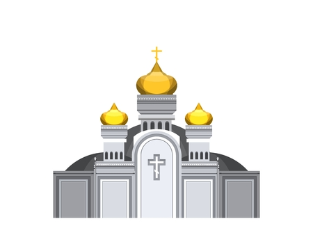 abbey: vector illustration on a white background Orthodox church with gold domes