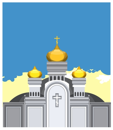 domes: vector illustration of the Orthodox church with gold domes against the sky