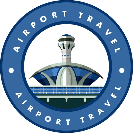 airforce: vector emblem round shape, design element, the airport building Illustration