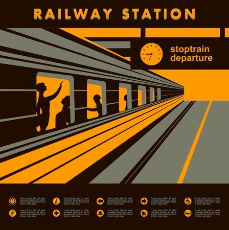 ilustración vectorial de tren plataforma de la estación de tren con pasajeros abstracción Ilustración de vector