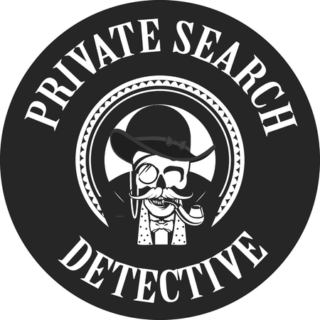 private investigator: vector illustration of a skull with a pipe and a private investigator hat in the round logo Illustration