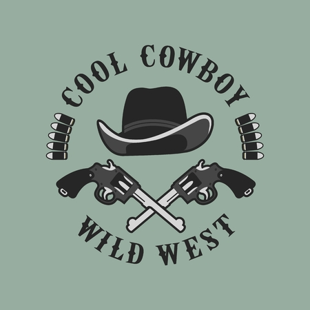 chuck: vector emblem conventionally circular shape on a cowboy theme, design element,